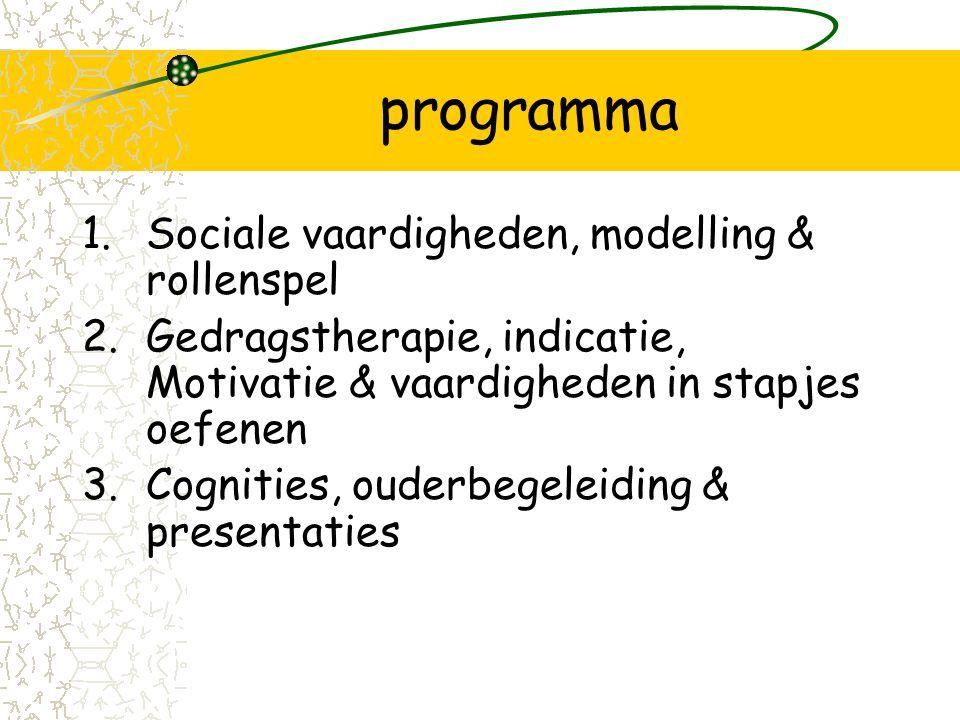 programma Sociale vaardigheden, modelling & rollenspel