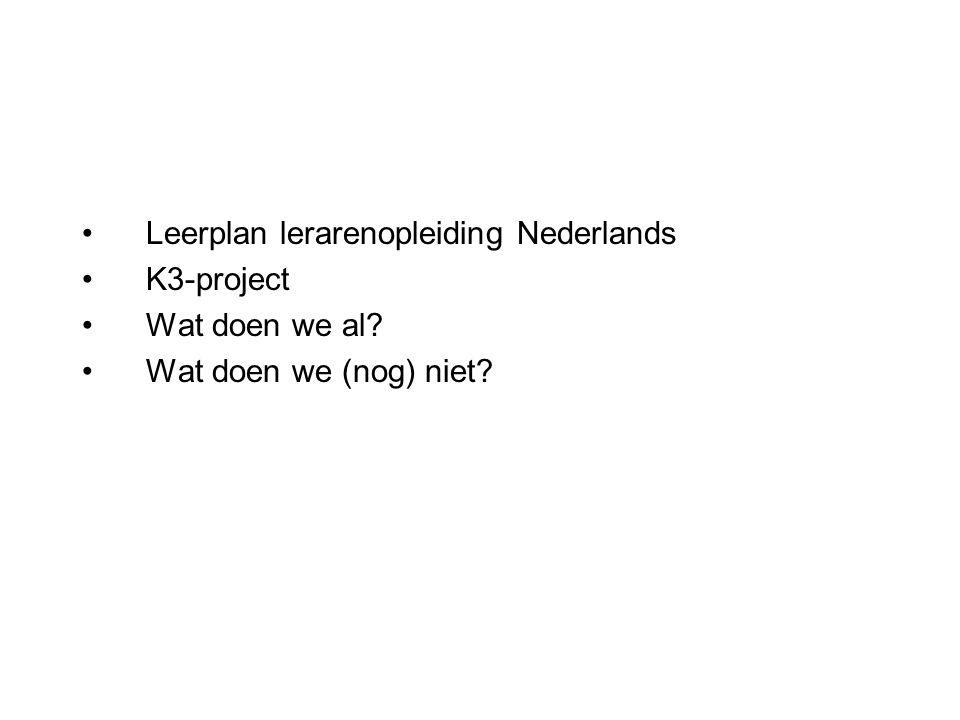 Leerplan lerarenopleiding Nederlands