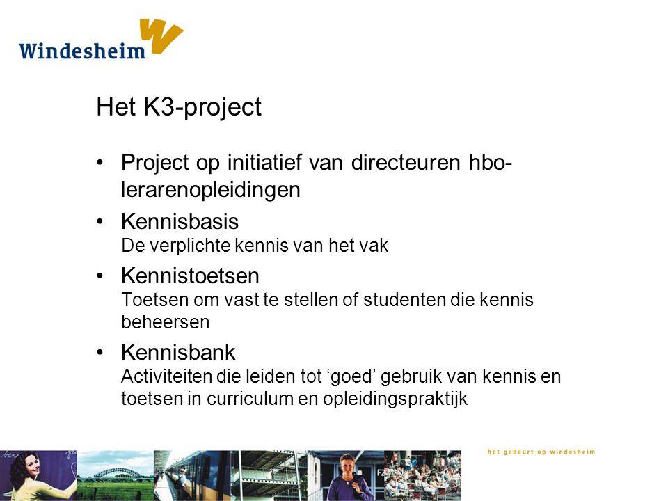 Het K3-project Project op initiatief van directeuren hbo-lerarenopleidingen. Kennisbasis De verplichte kennis van het vak.