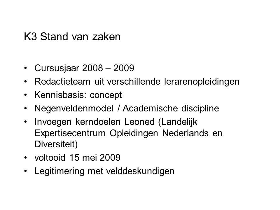 K3 Stand van zaken Cursusjaar 2008 – 2009