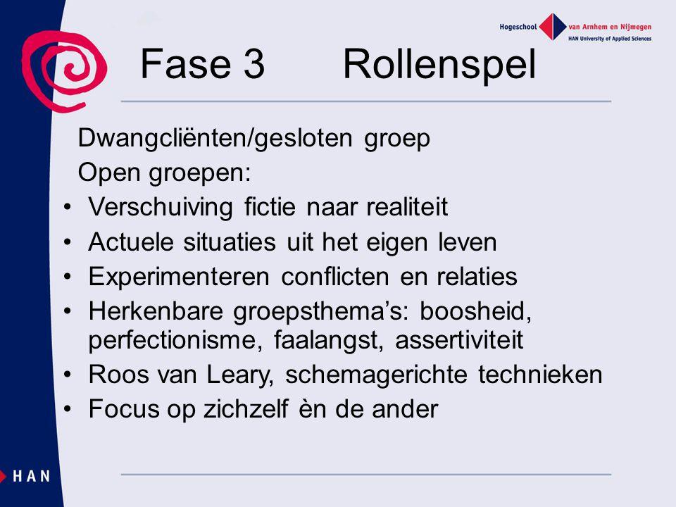 Fase 3 Rollenspel Dwangcliënten/gesloten groep Open groepen: