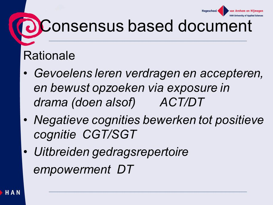 Consensus based document