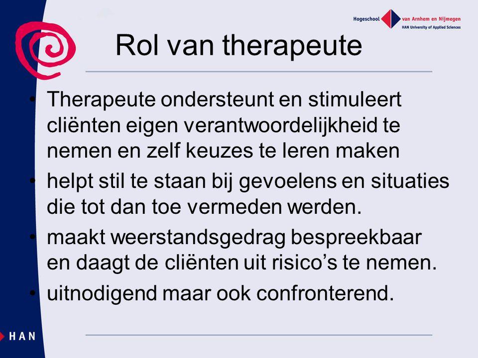 Rol van therapeute Therapeute ondersteunt en stimuleert cliënten eigen verantwoordelijkheid te nemen en zelf keuzes te leren maken.