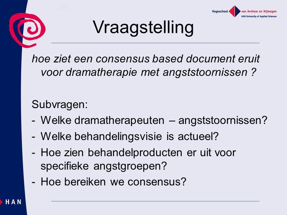 Vraagstelling hoe ziet een consensus based document eruit voor dramatherapie met angststoornissen
