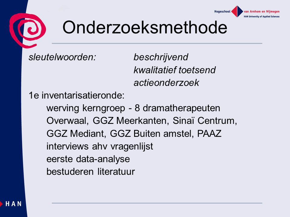 Onderzoeksmethode sleutelwoorden: beschrijvend kwalitatief toetsend