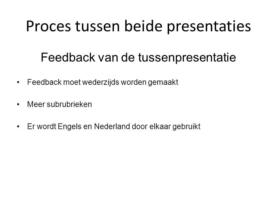 Proces tussen beide presentaties