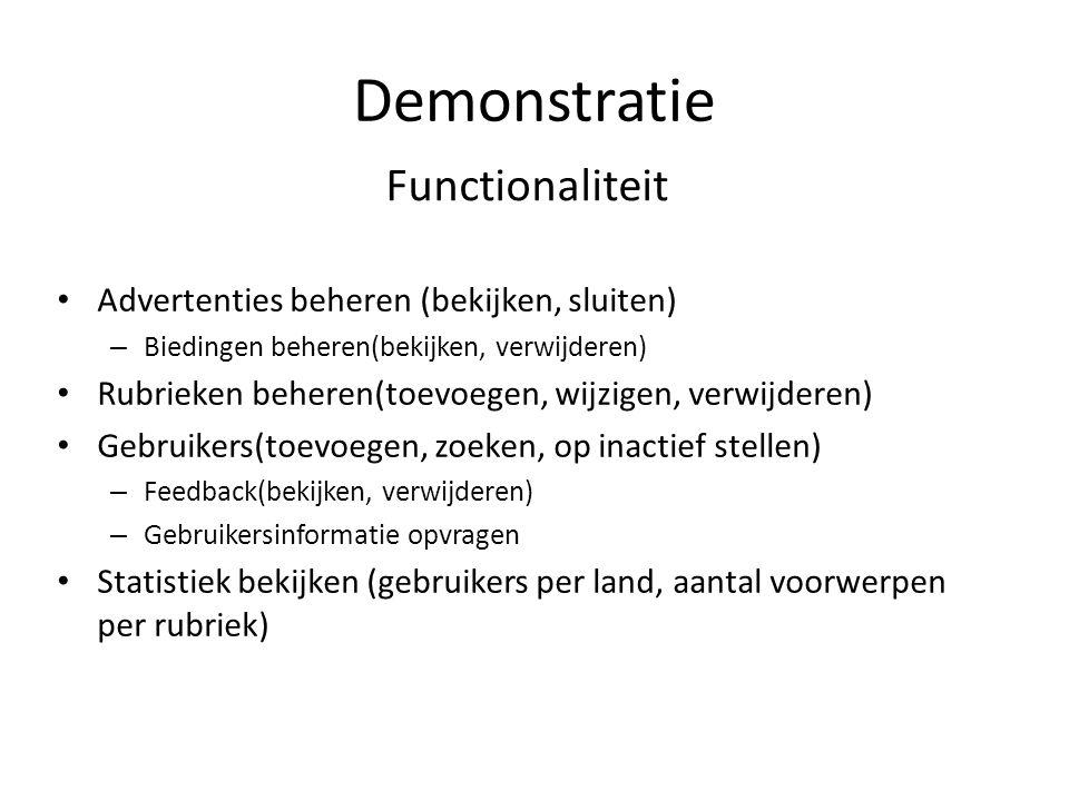 Demonstratie Functionaliteit Advertenties beheren (bekijken, sluiten)