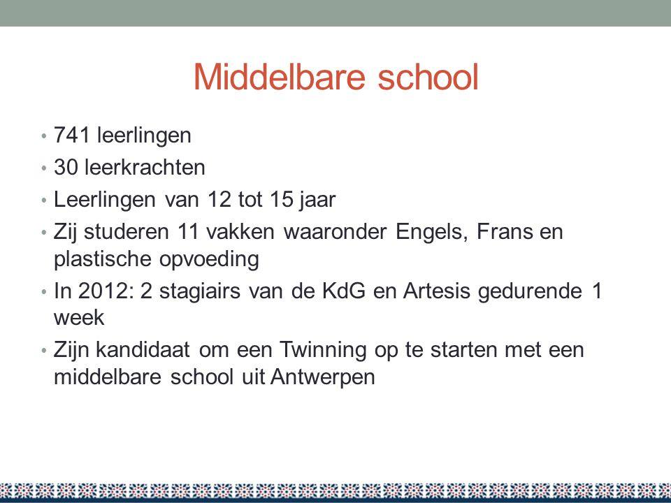 Middelbare school 741 leerlingen 30 leerkrachten