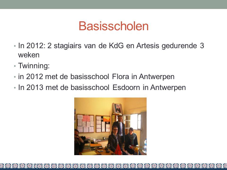 Basisscholen In 2012: 2 stagiairs van de KdG en Artesis gedurende 3 weken. Twinning: in 2012 met de basisschool Flora in Antwerpen.