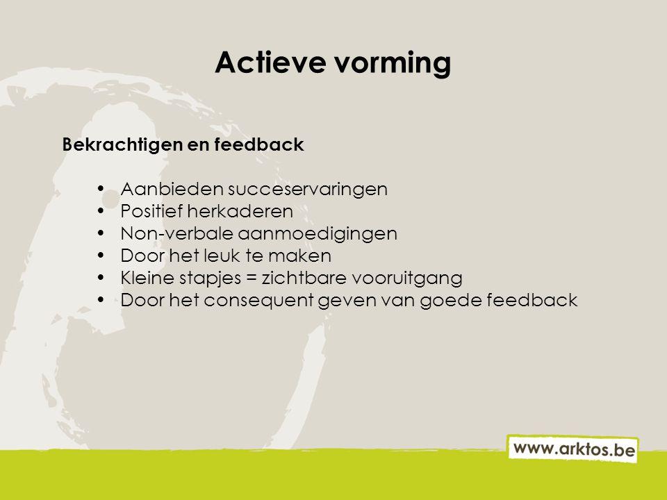 Actieve vorming Bekrachtigen en feedback Aanbieden succeservaringen