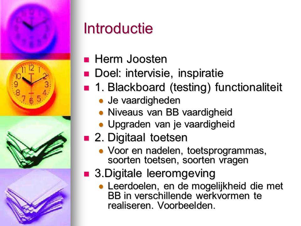 Introductie Herm Joosten Doel: intervisie, inspiratie