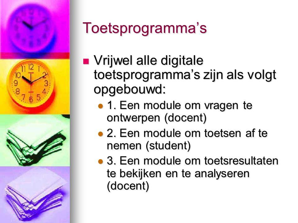 Toetsprogramma's Vrijwel alle digitale toetsprogramma's zijn als volgt opgebouwd: 1. Een module om vragen te ontwerpen (docent)