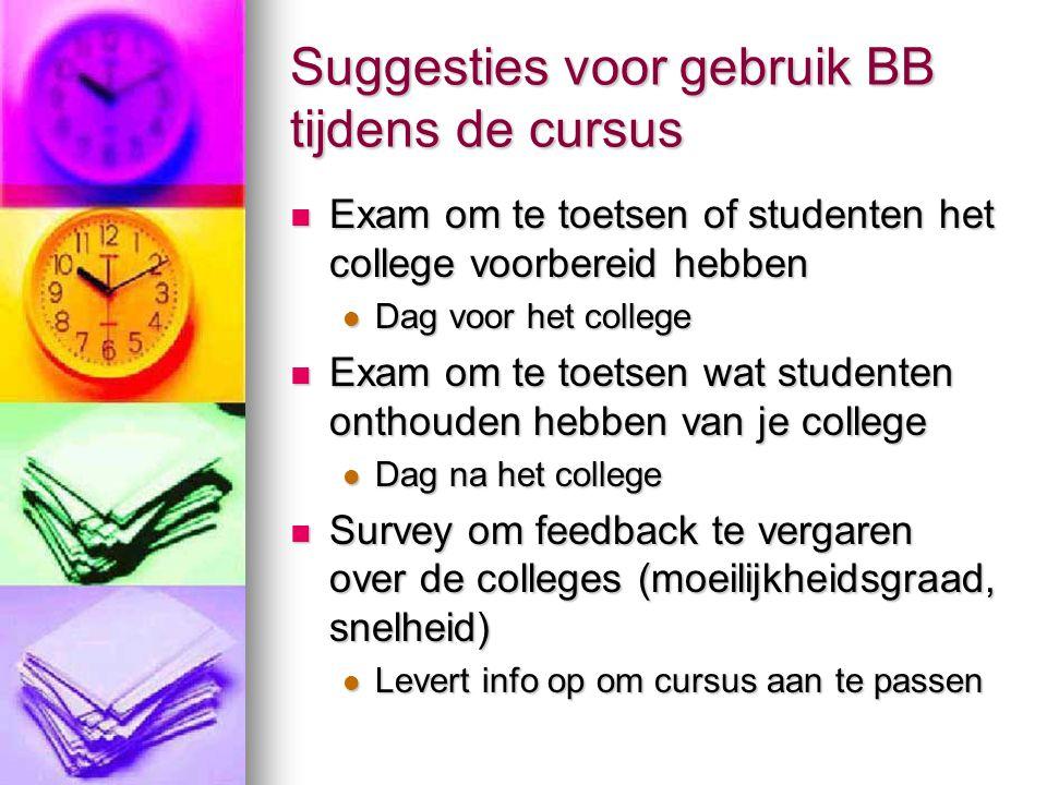 Suggesties voor gebruik BB tijdens de cursus