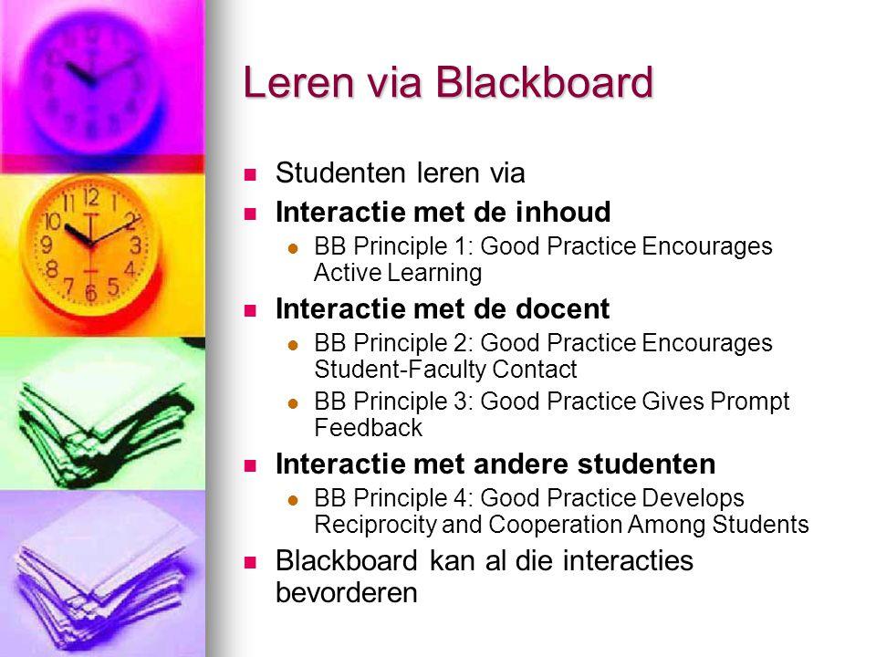 Leren via Blackboard Studenten leren via Interactie met de inhoud