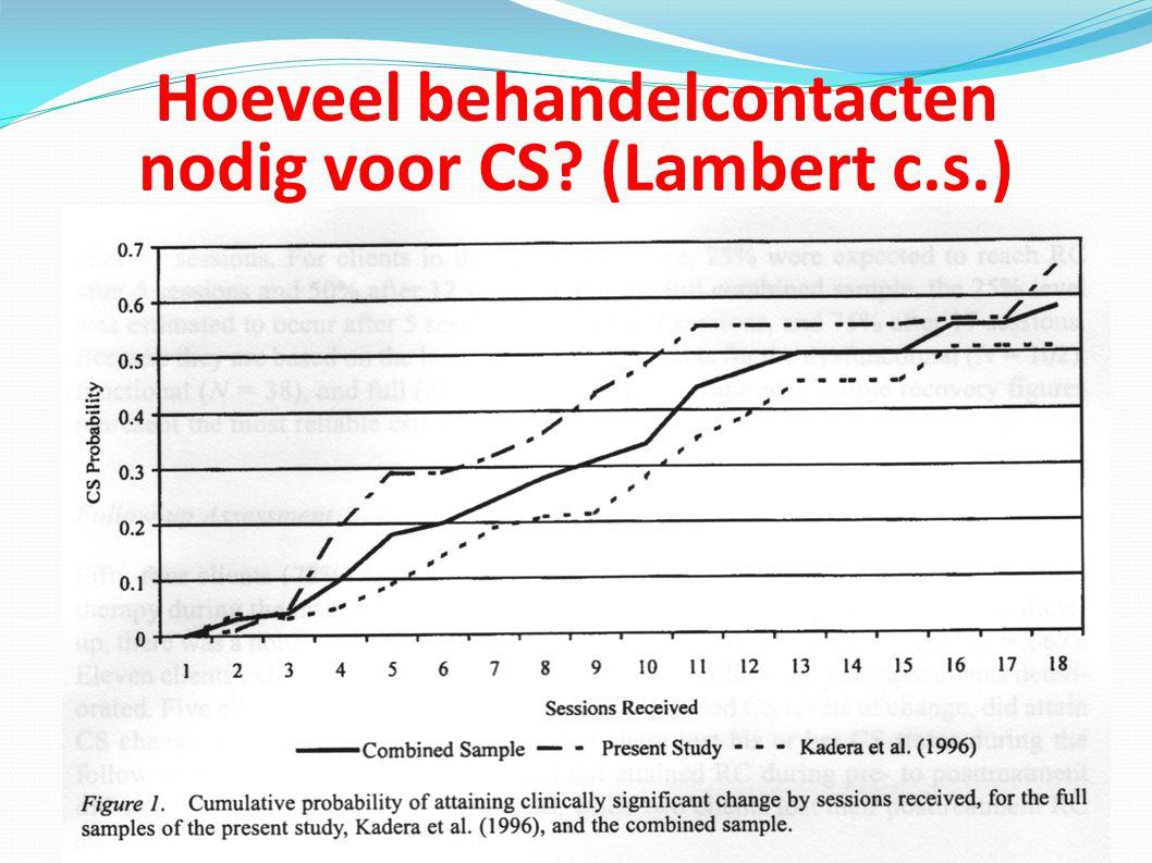 Hoeveel behandelcontacten nodig voor CS (Lambert c.s.)