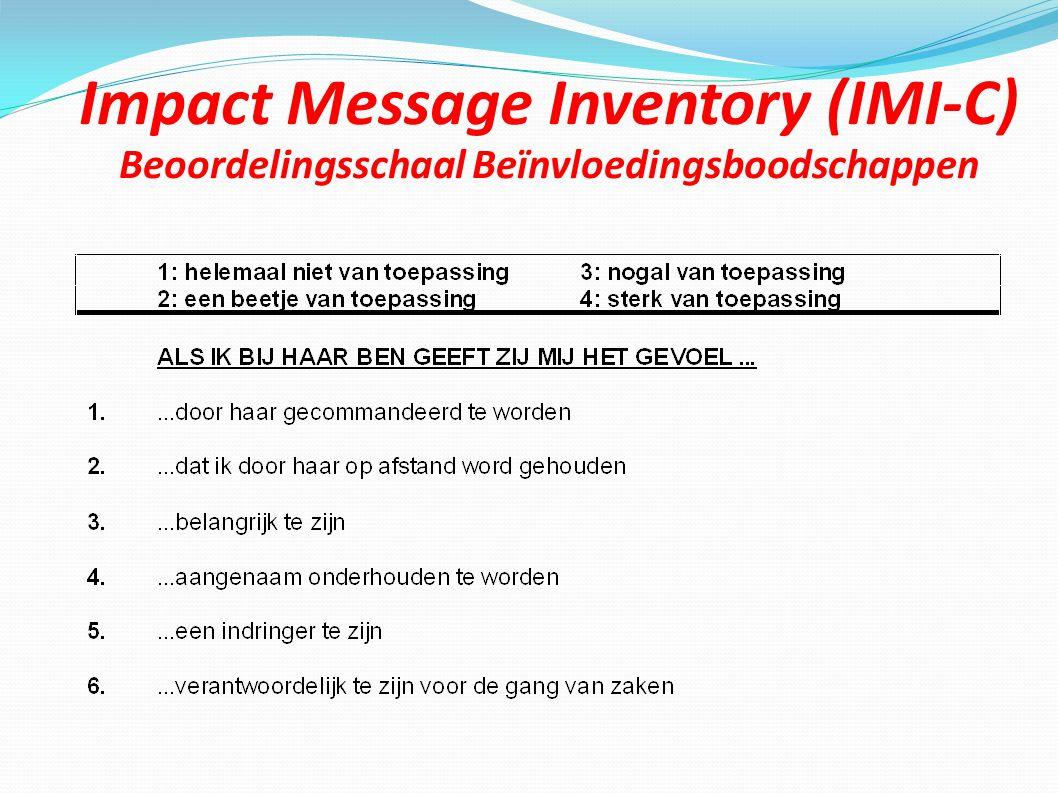 Impact Message Inventory (IMI-C) Beoordelingsschaal Beïnvloedingsboodschappen