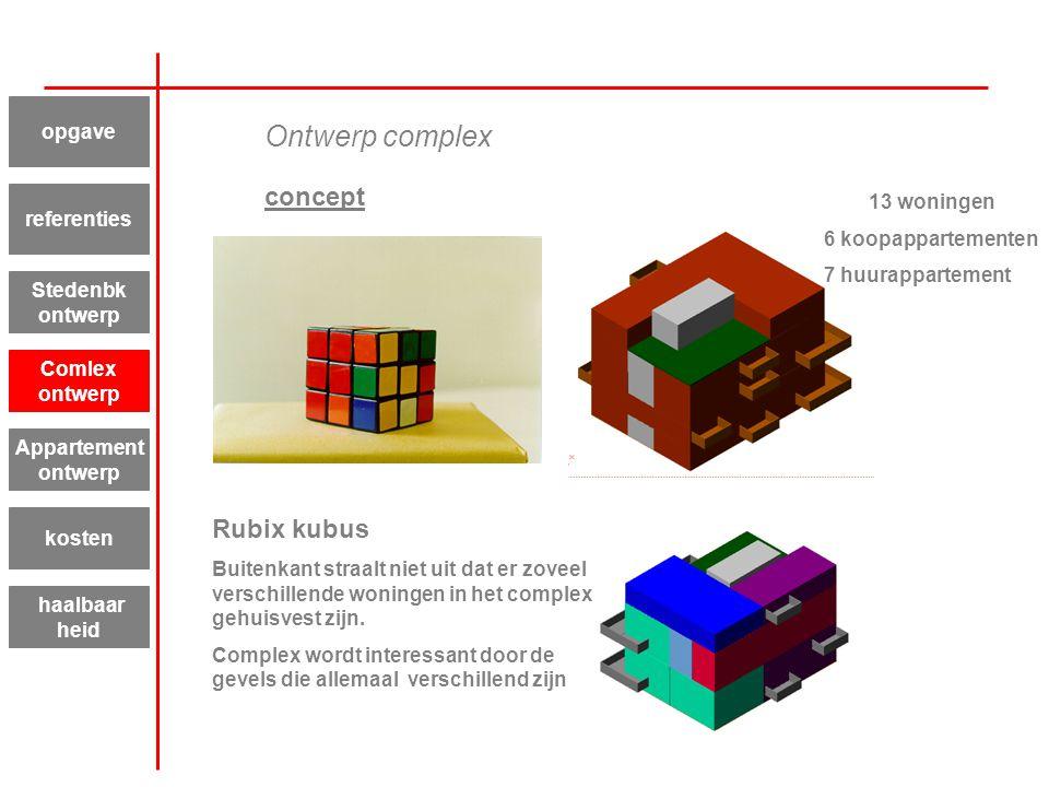 Ontwerp complex concept Rubix kubus opgave 13 woningen referenties