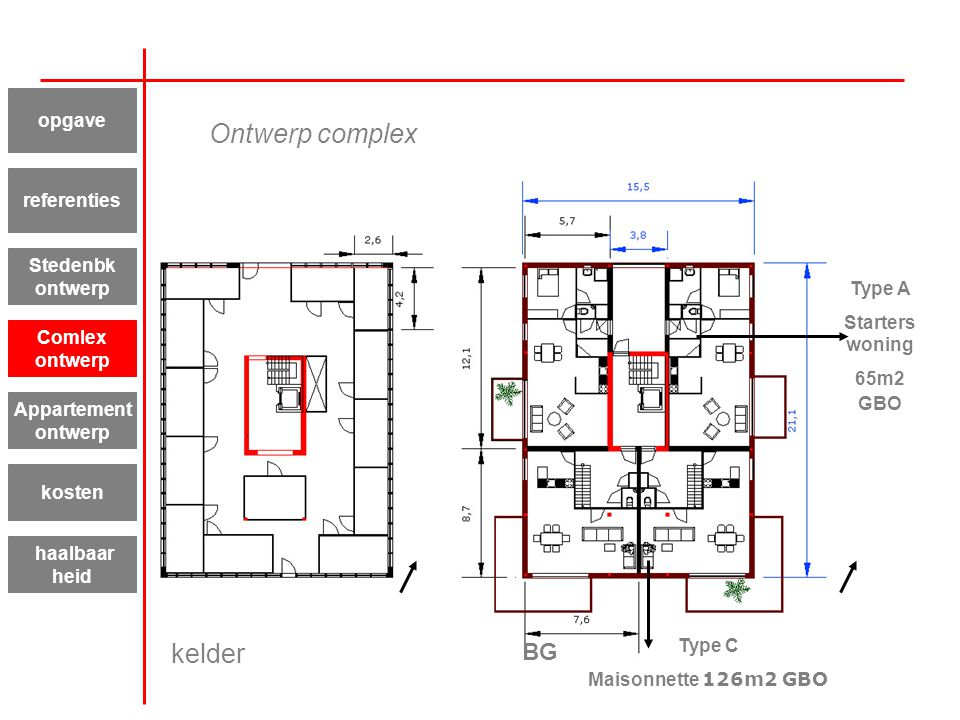 Ontwerp complex kelder BG opgave referenties Stedenbk ontwerp Type A