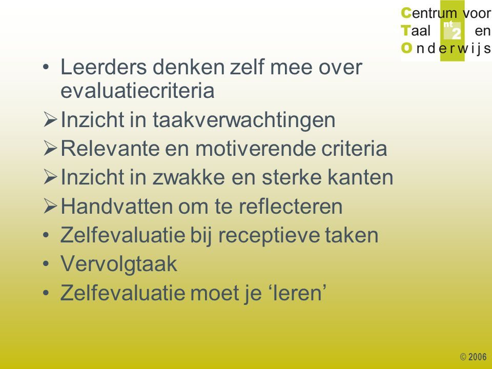 Leerders denken zelf mee over evaluatiecriteria