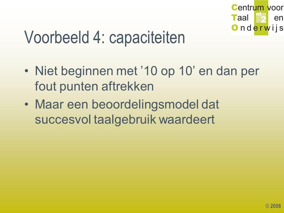 Voorbeeld 4: capaciteiten
