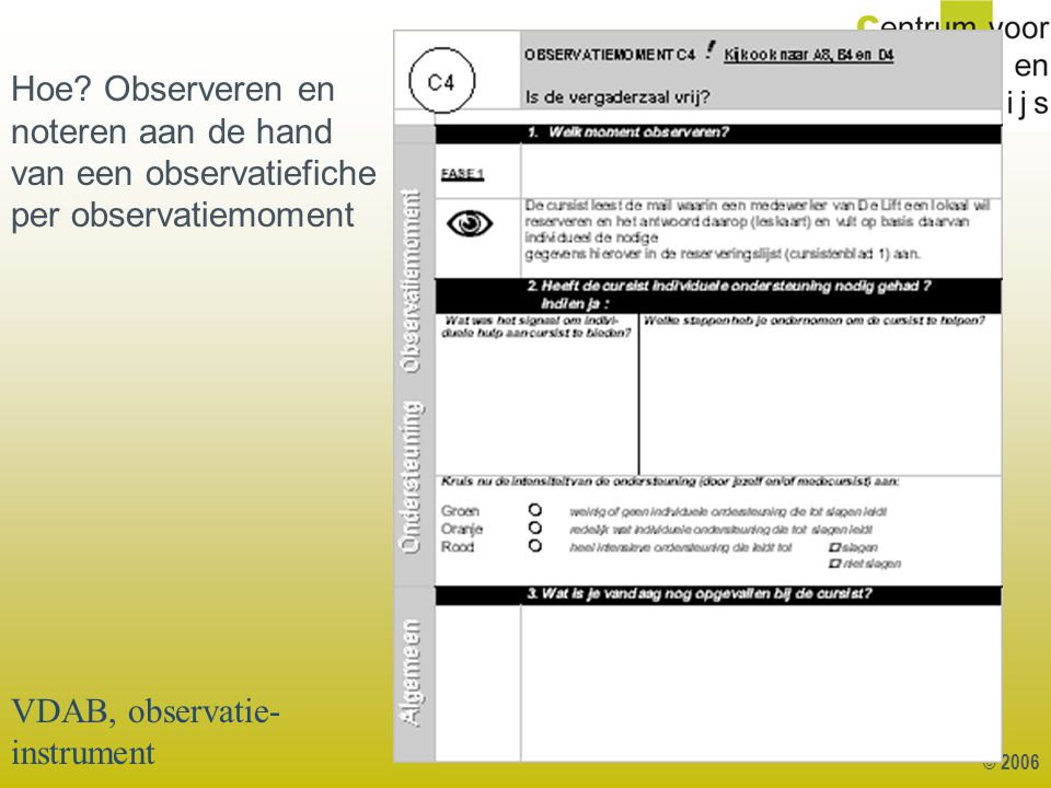 VDAB, observatie-instrument