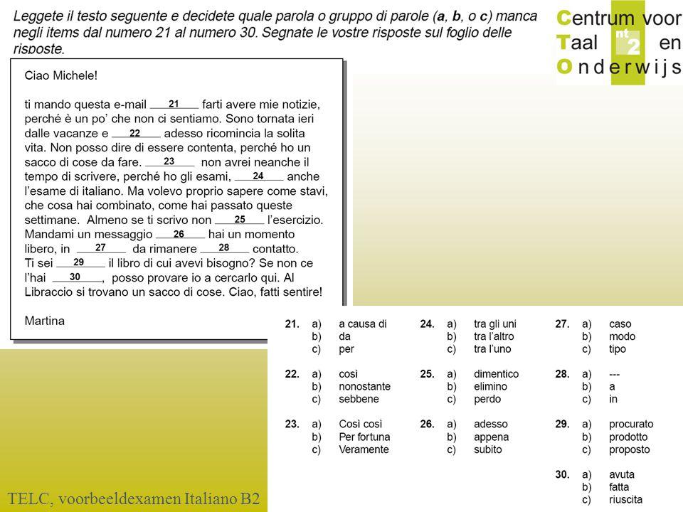 TELC, voorbeeldexamen Italiano B2