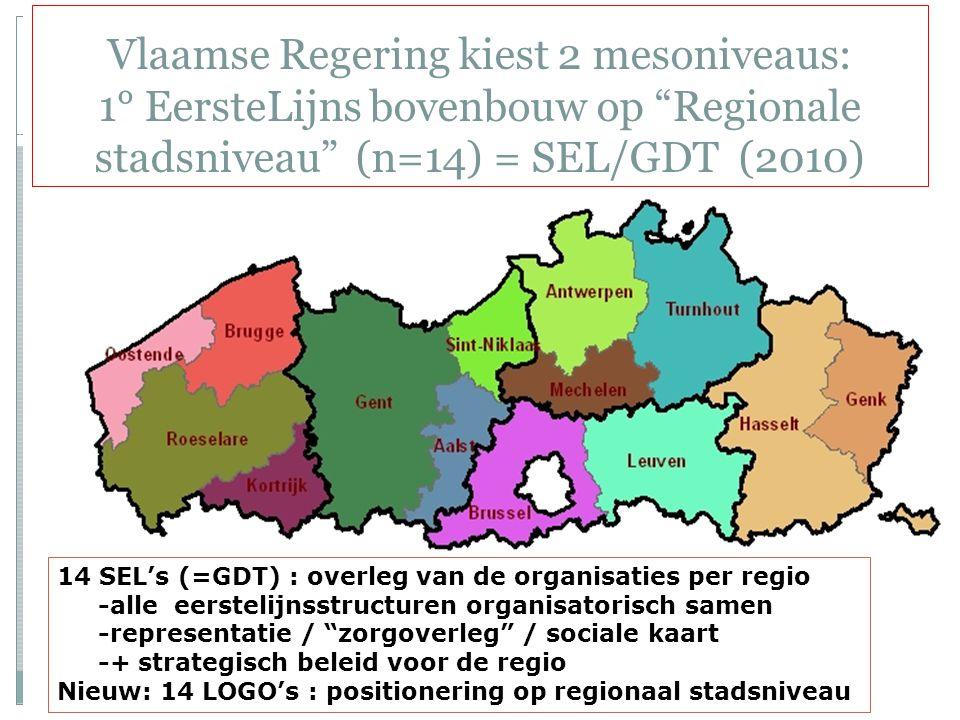 Vlaamse Regering kiest 2 mesoniveaus: 1° EersteLijns bovenbouw op Regionale stadsniveau (n=14) = SEL/GDT (2010)
