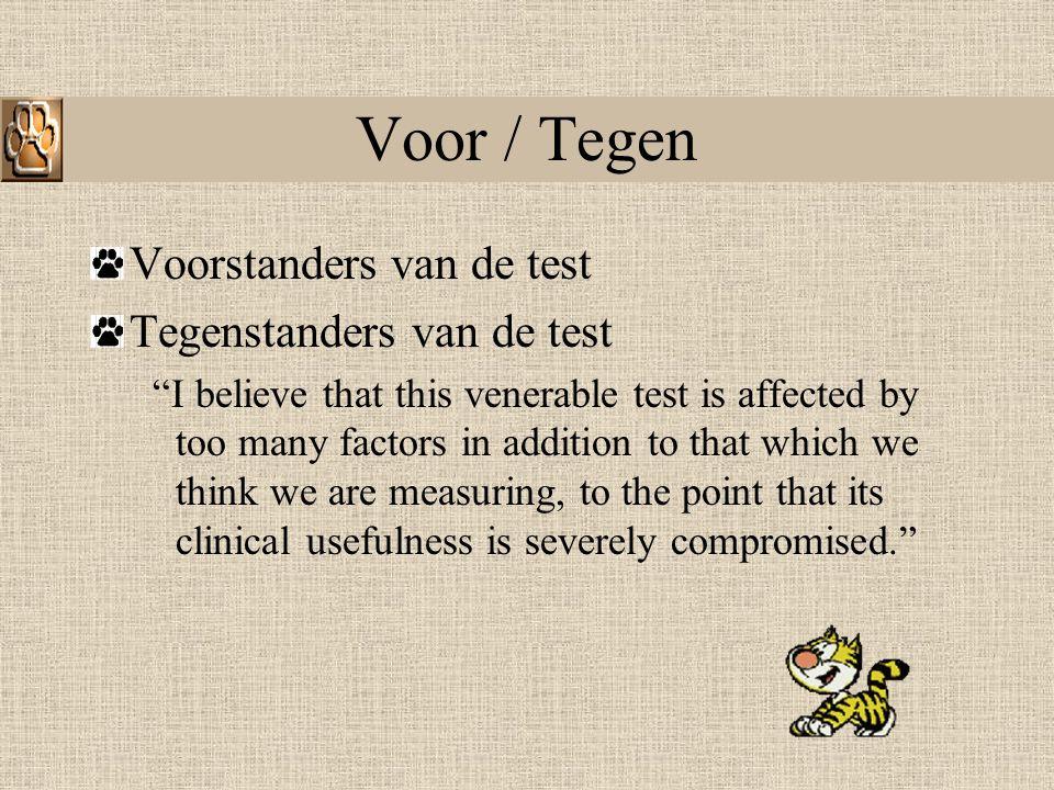 Voor / Tegen Voorstanders van de test Tegenstanders van de test
