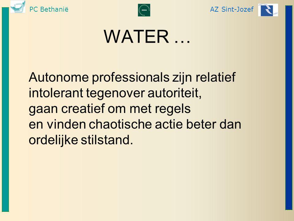 WATER … Autonome professionals zijn relatief intolerant tegenover autoriteit, gaan creatief om met regels.