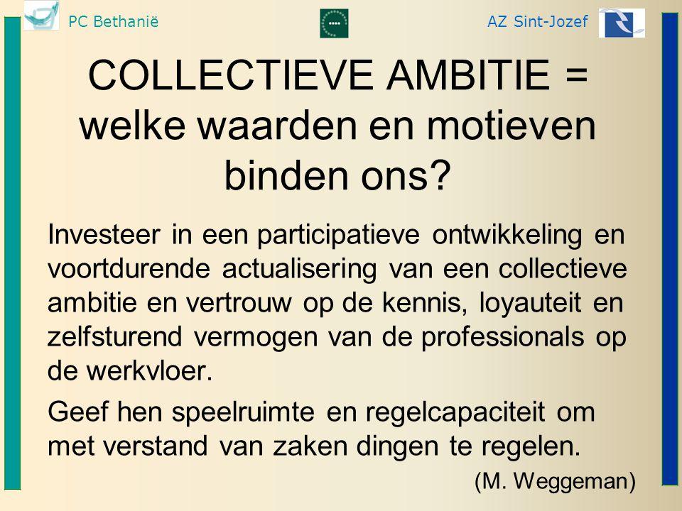 COLLECTIEVE AMBITIE = welke waarden en motieven binden ons