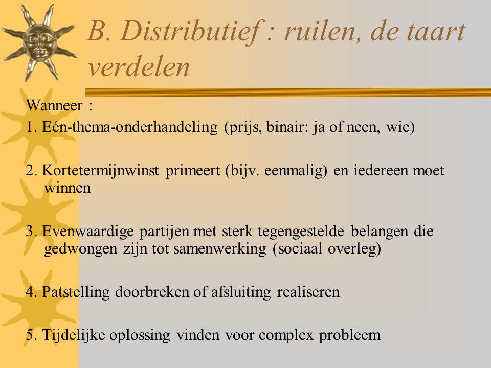 B. Distributief : ruilen, de taart verdelen