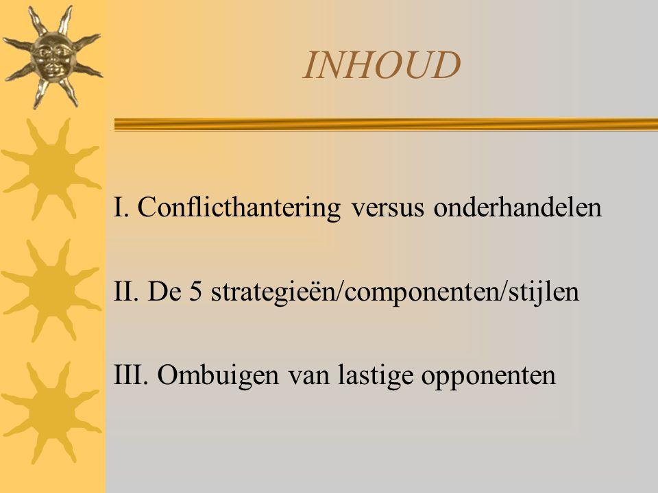 INHOUD I. Conflicthantering versus onderhandelen