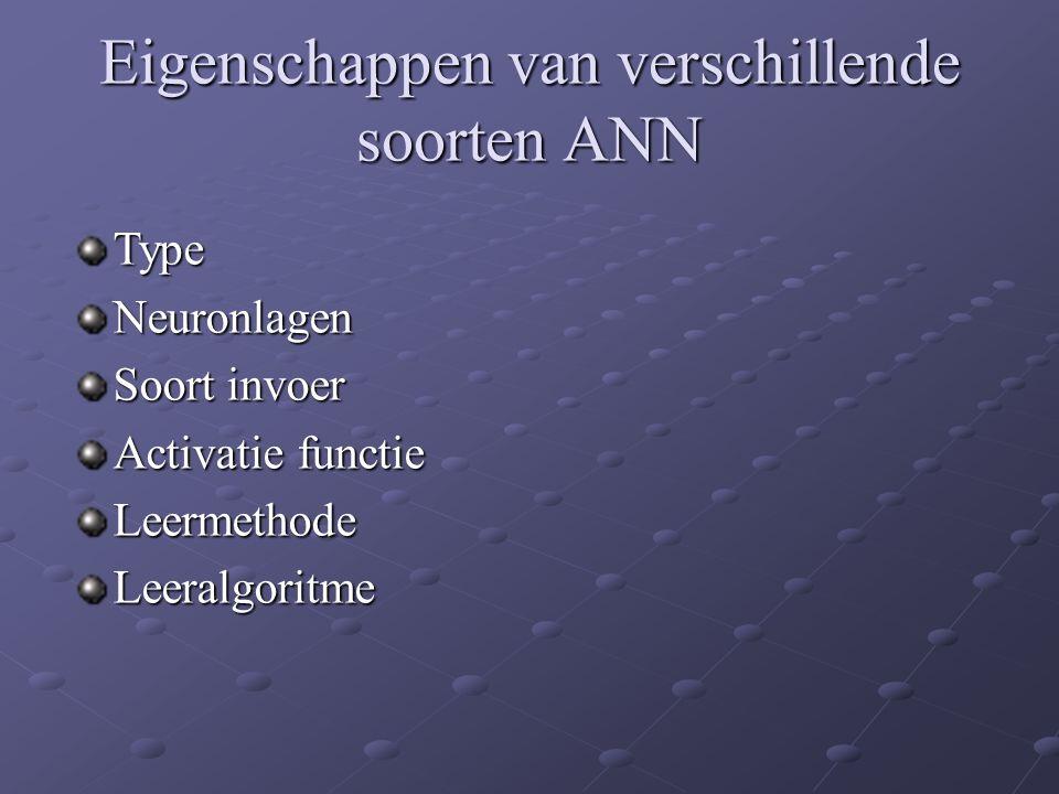 Eigenschappen van verschillende soorten ANN