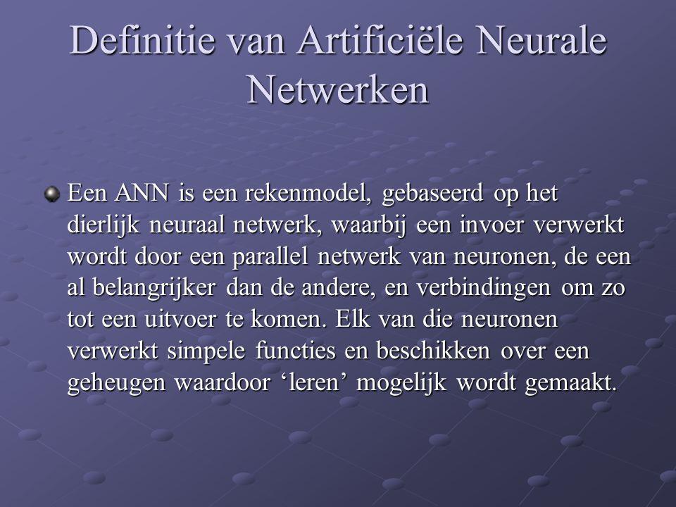 Definitie van Artificiële Neurale Netwerken