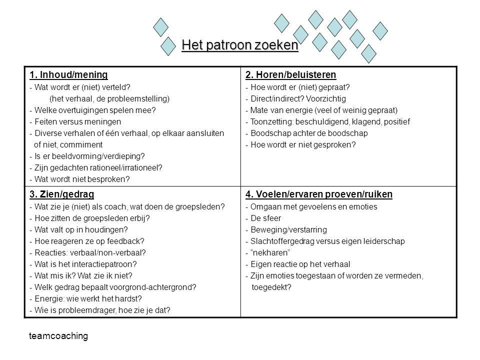 Het patroon zoeken 1. Inhoud/mening 2. Horen/beluisteren