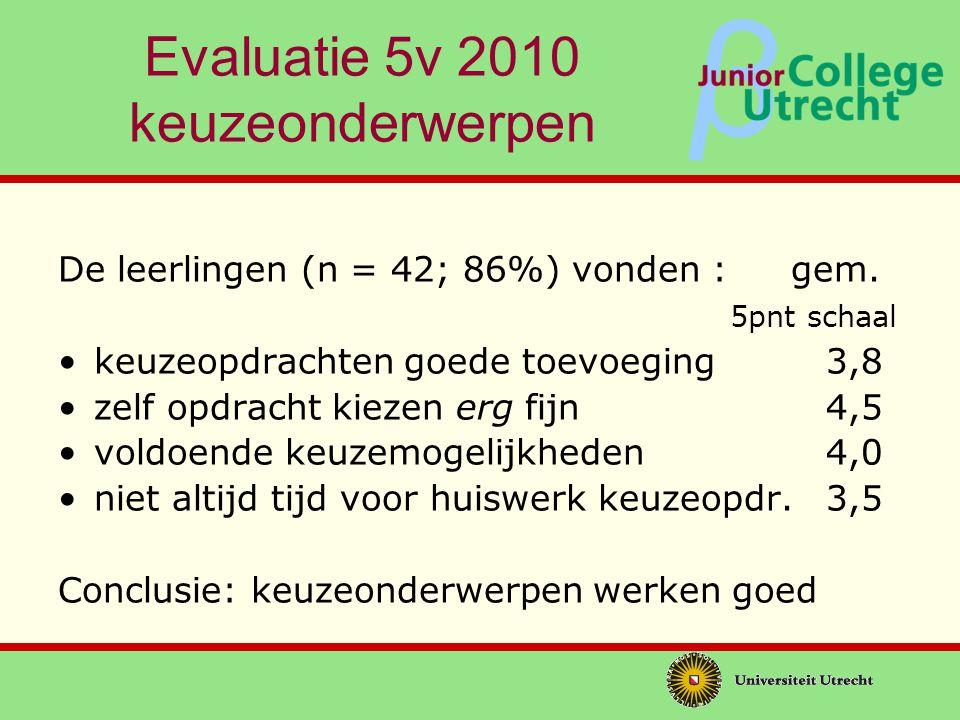 Evaluatie 5v 2010 keuzeonderwerpen