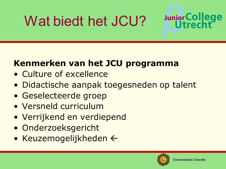 Wat biedt het JCU Kenmerken van het JCU programma