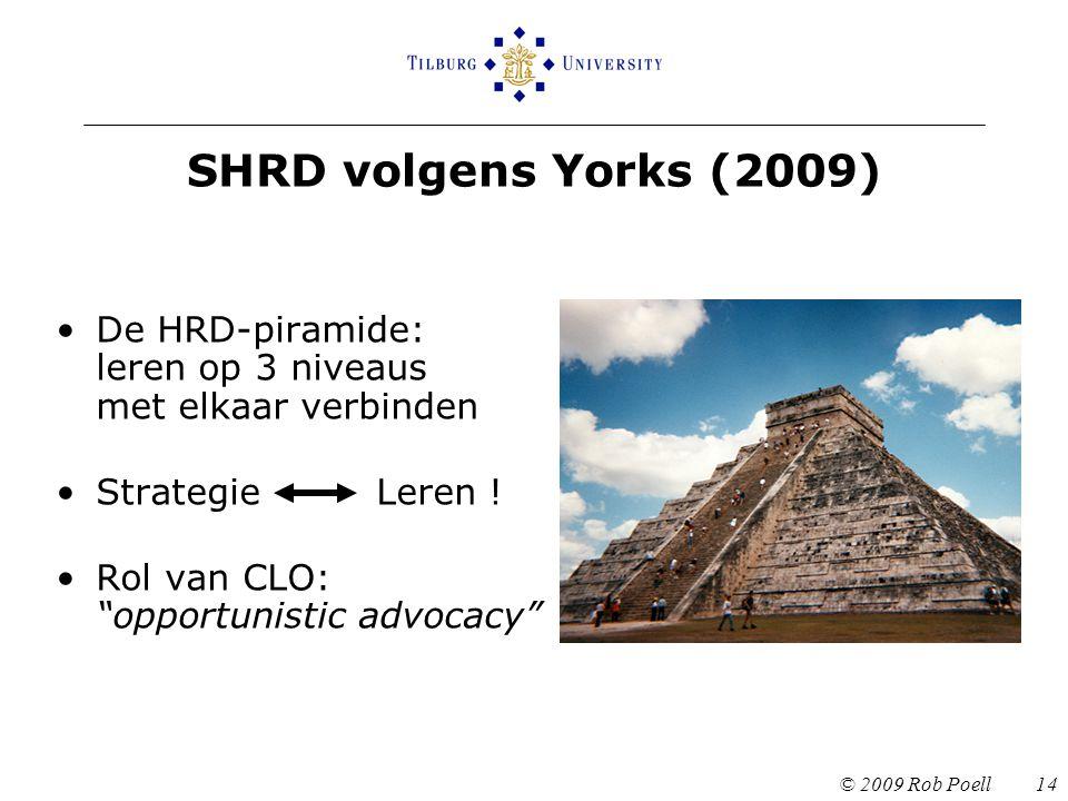 SHRD volgens Yorks (2009) De HRD-piramide: leren op 3 niveaus met elkaar verbinden. Strategie Leren !