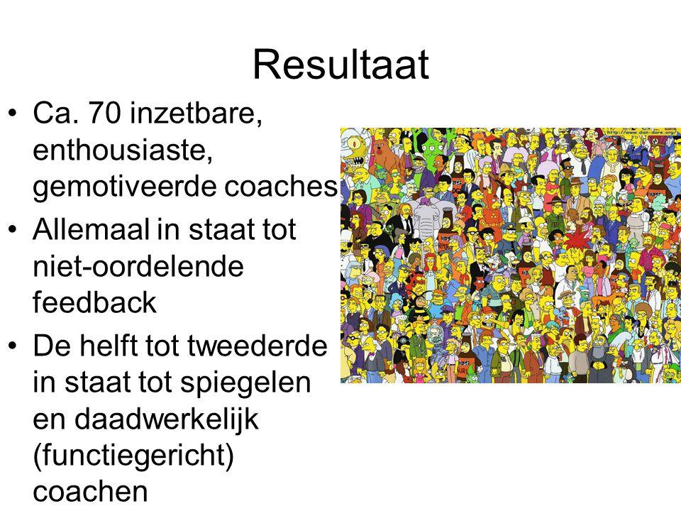 Resultaat Ca. 70 inzetbare, enthousiaste, gemotiveerde coaches