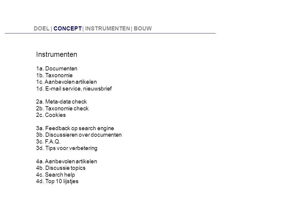 Instrumenten DOEL | CONCEPT | INSTRUMENTEN | BOUW 1a. Documenten
