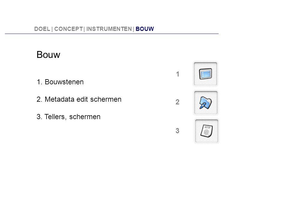 Bouw 1. Bouwstenen 1 2. Metadata edit schermen 3. Tellers, schermen 2