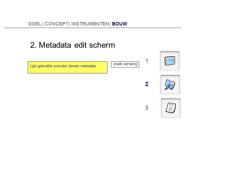 2. Metadata edit scherm 1 2 3 DOEL | CONCEPT | INSTRUMENTEN | BOUW