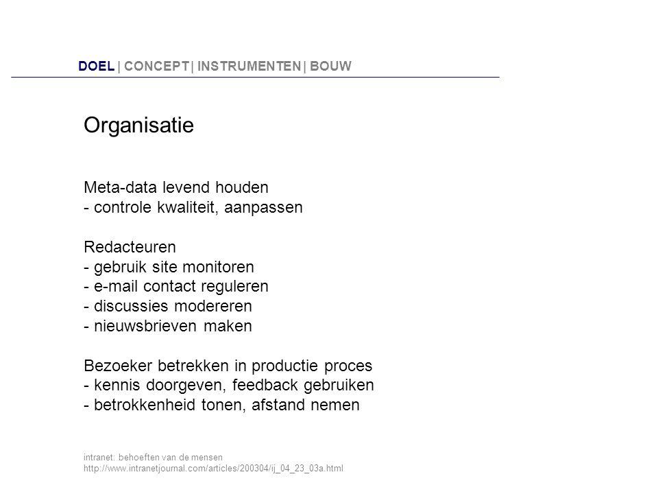 Organisatie Meta-data levend houden - controle kwaliteit, aanpassen