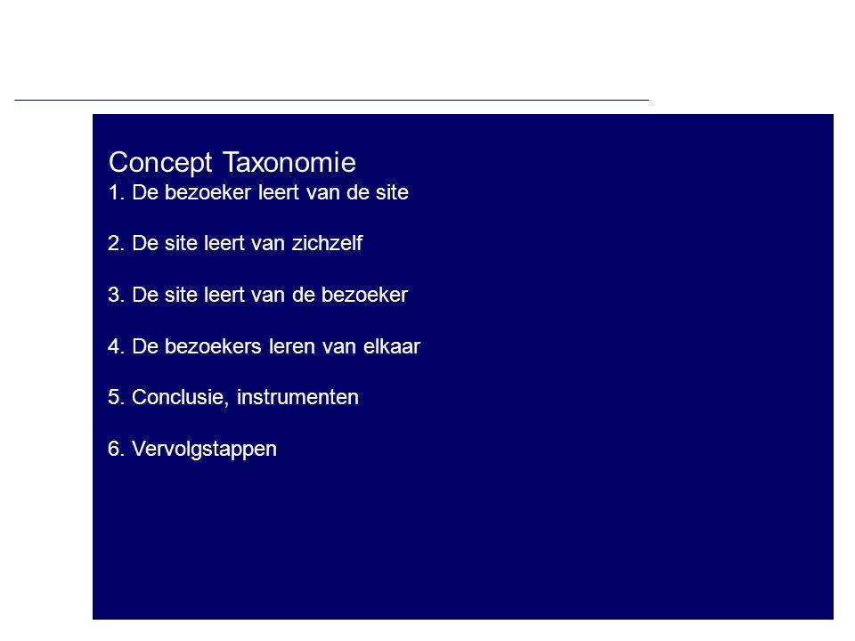Concept Taxonomie 1. De bezoeker leert van de site