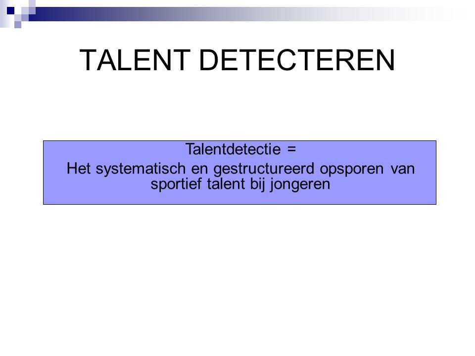 TALENT DETECTEREN Talentdetectie =