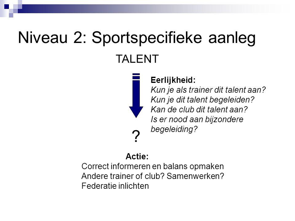 Niveau 2: Sportspecifieke aanleg