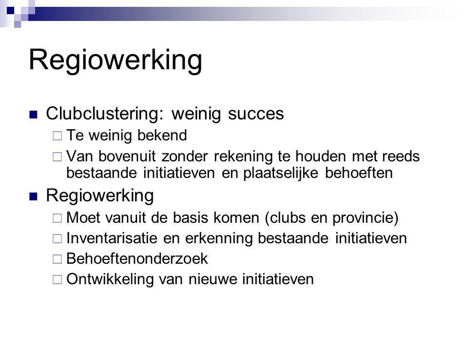 Regiowerking Clubclustering: weinig succes Regiowerking