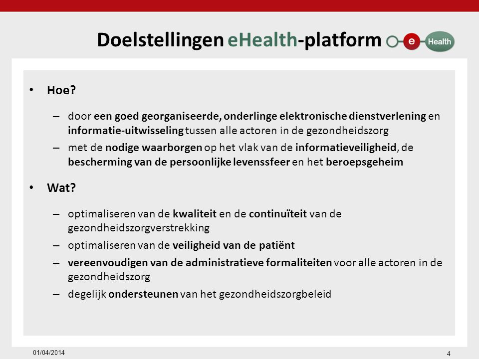 Doelstellingen eHealth-platform