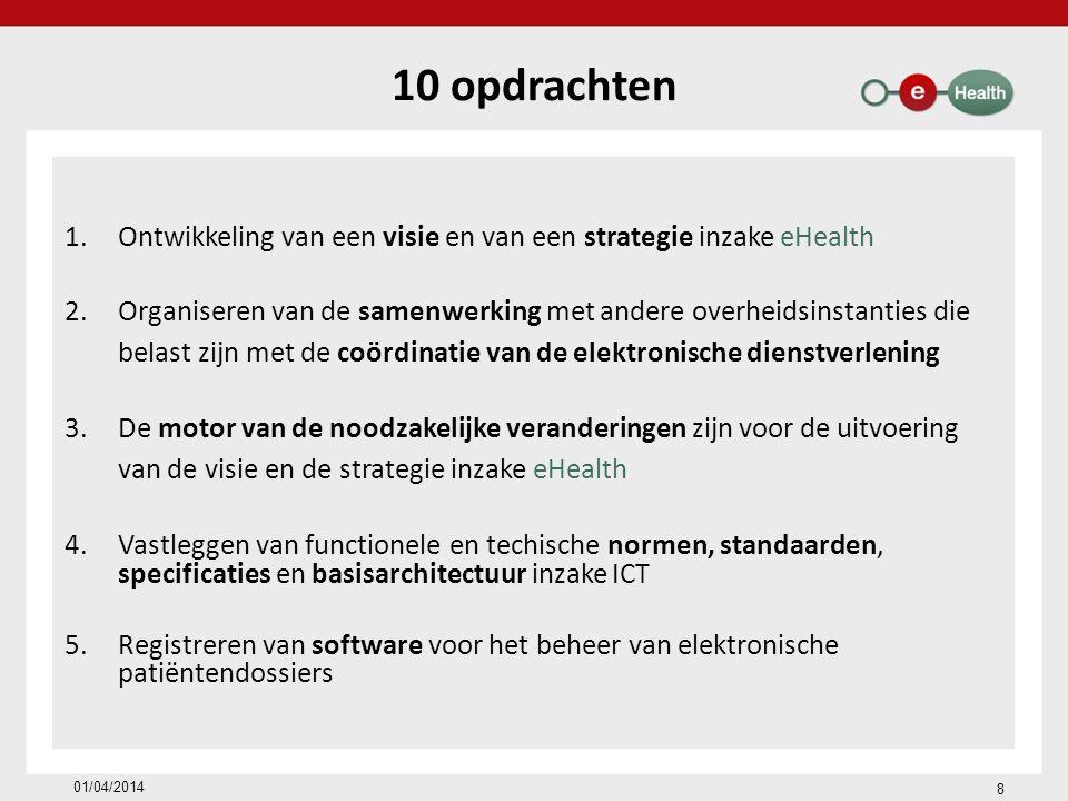 10 opdrachten Ontwikkeling van een visie en van een strategie inzake eHealth.
