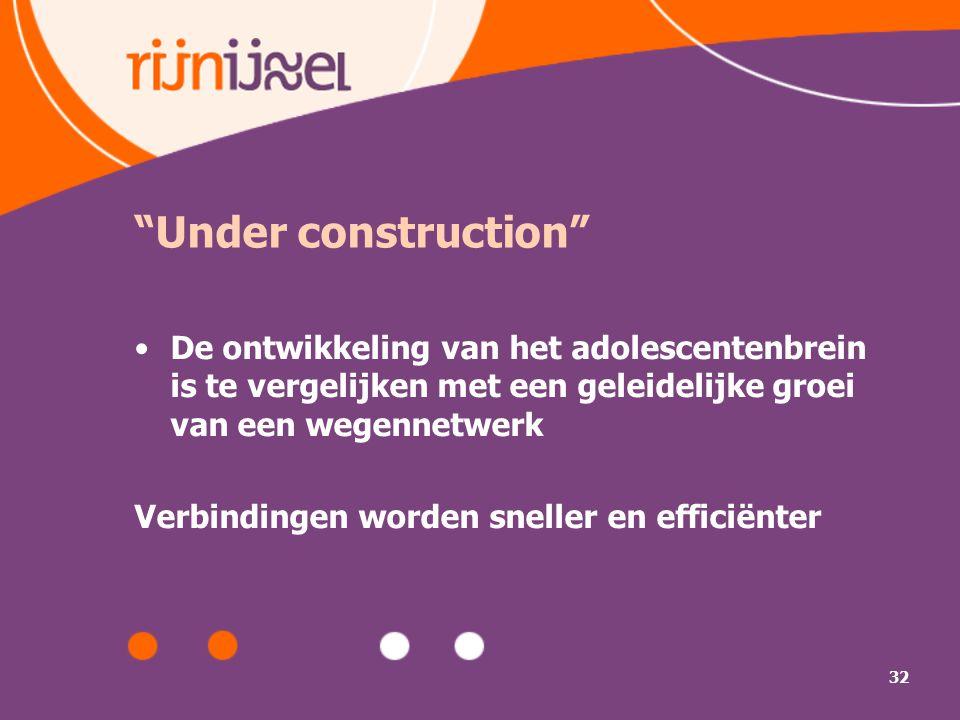 Under construction De ontwikkeling van het adolescentenbrein is te vergelijken met een geleidelijke groei van een wegennetwerk.